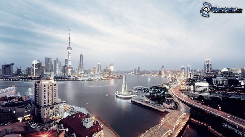 Shanghai, kvällsstad, flod
