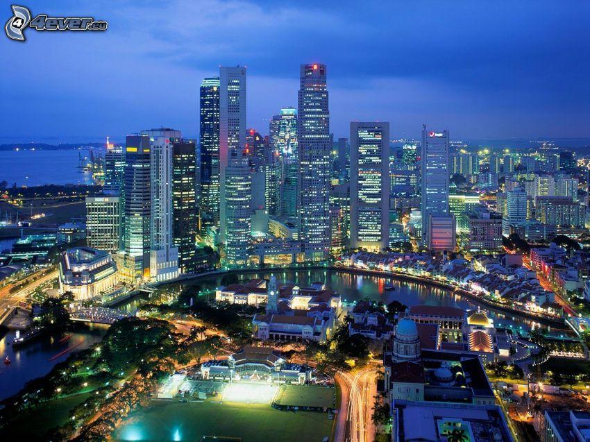 Singapore, kväll, skyskrapor, stadsutsikt