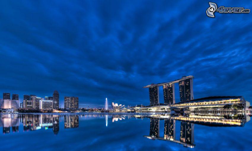 Singapore, Marina Bay Sands, kvällsstad, vatten, spegling