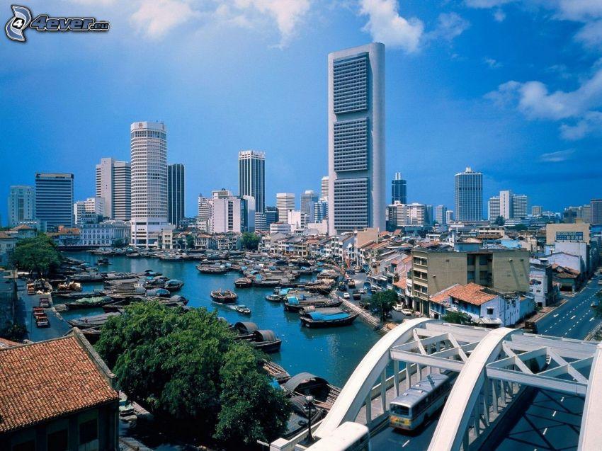 Singapore, skyskrapor, fartyg