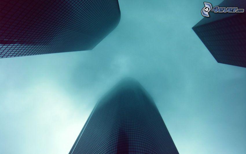 skyskrapor, dimma
