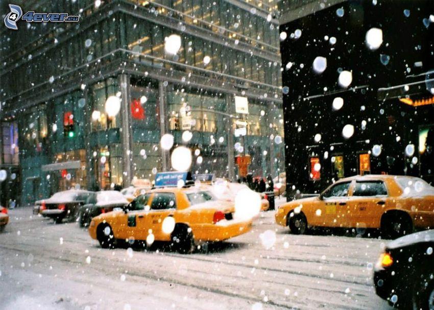 snöig gata, NYC Taxi