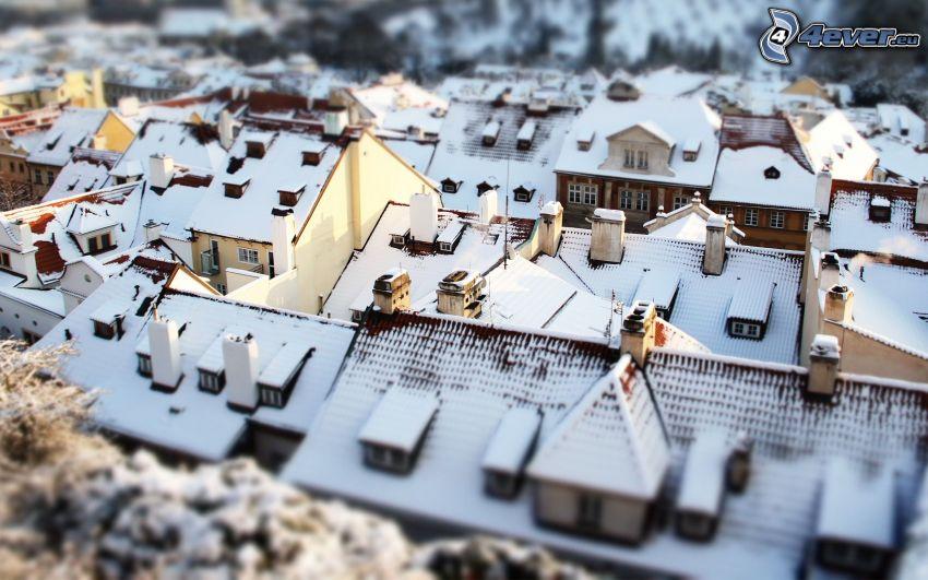 snötäckta hus, diorama