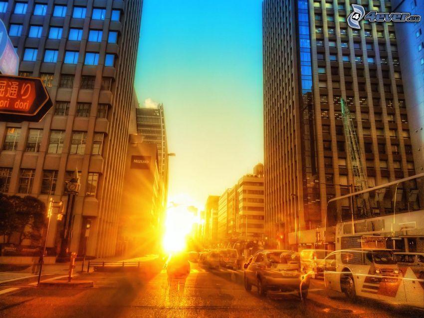 solnedgång i staden, HDR