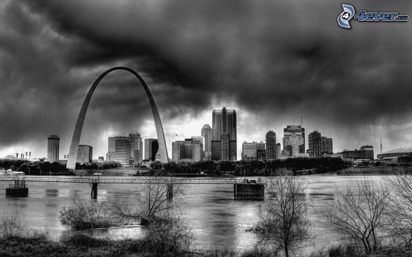 St. Louis, Gateway Arch, svartvitt foto