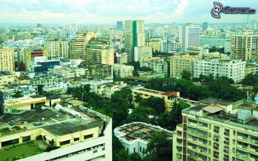 stadsutsikt, lägenheter, Indien