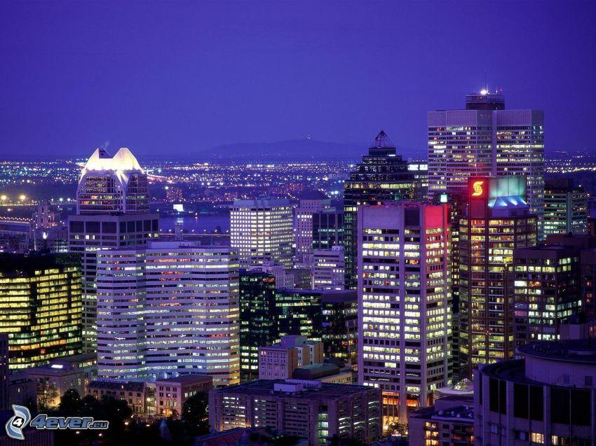 storstad, kväll, byggnader