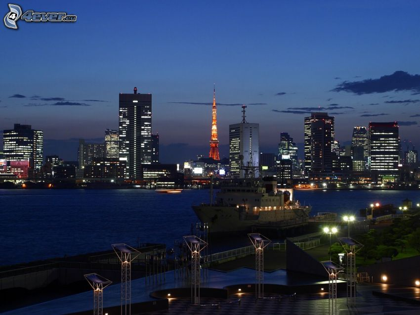 Tokyo, kvällsstad, skyskrapor, båt