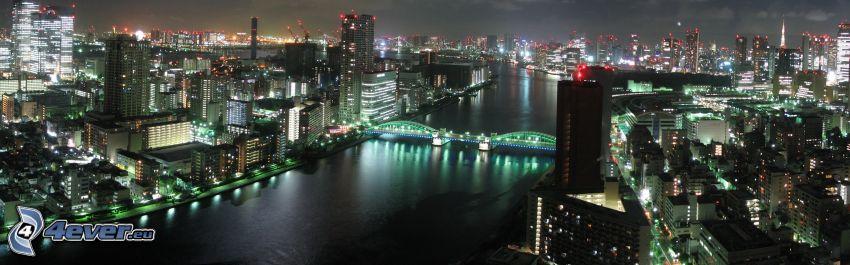 Tokyo, nattstad, skyskrapor