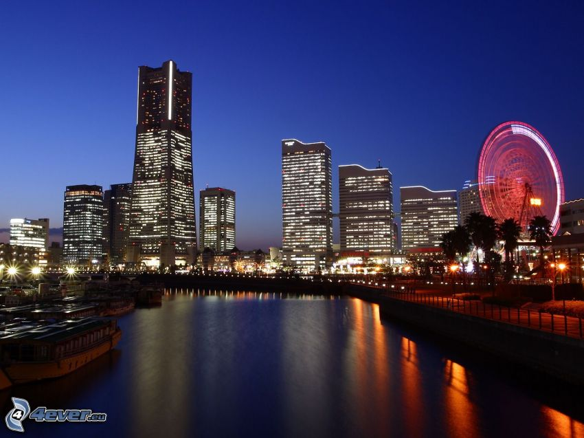Tokyo, skyskrapor, kvällsstad