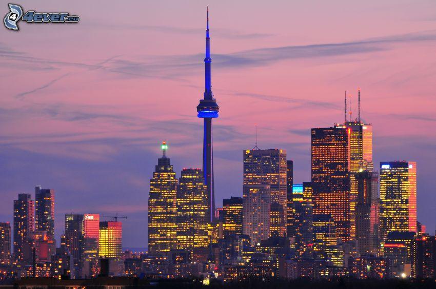 Toronto, kvällsstad, CN Tower, skyskrapor