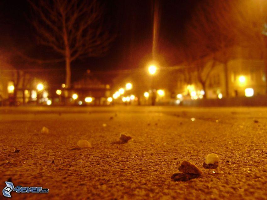 väg, nattstad, gatlyktor