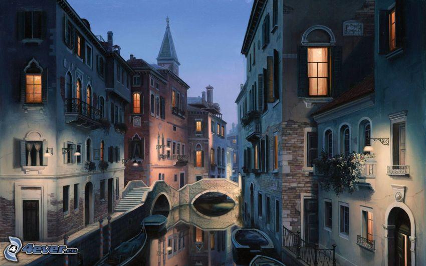 Venedig, gata, kvällsstad