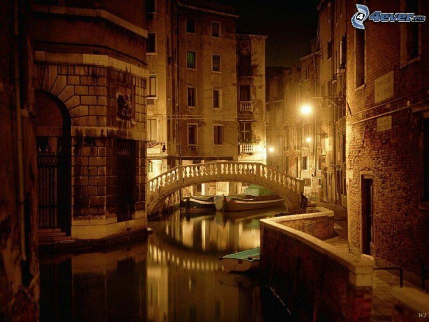 Venedig, nattstad, bro, vatten