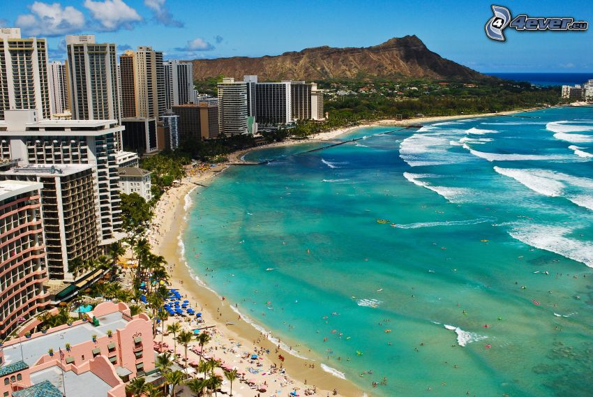 Waikiki, Hawaii, kuststad, hav