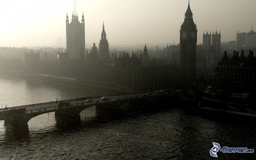 Westminsterpalatset, Brittiska parlamentet, Big Ben, London, bro, Thames
