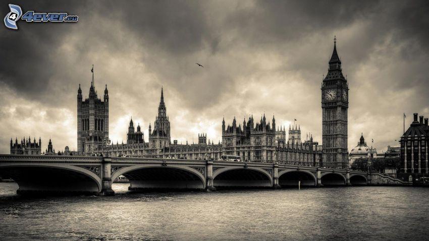 Westminsterpalatset, London, Big Ben, Brittiska parlamentet, Thames, bro, svart och vitt