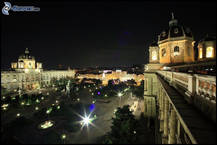 Wien, Österrike, natt, belysning