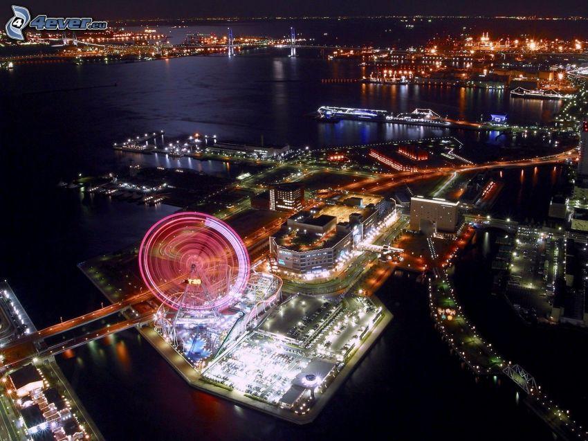 Yokohama, nattstad, karusell