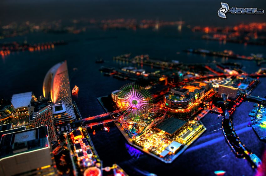 Yokohama, nöjespark, diorama, nattstad
