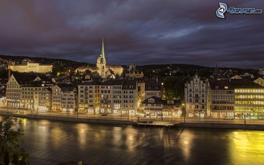 Zürich, nattstad, flod