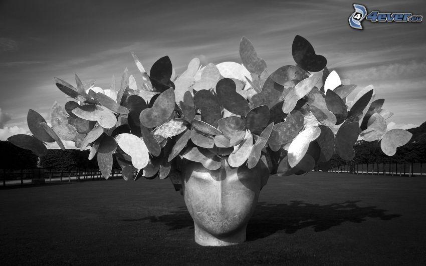 staty, huvud, fjärilar, svartvitt foto