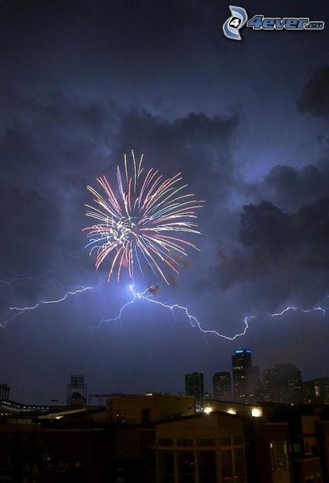storm, blixt, stad, natt