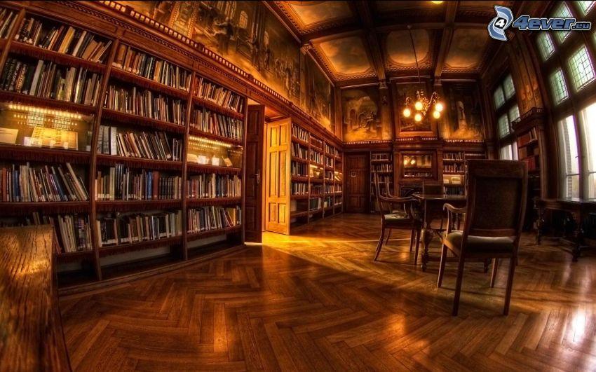 stort bibliotek, HDR