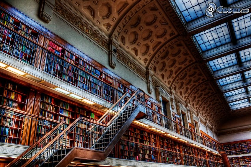 stort bibliotek, trappor, HDR