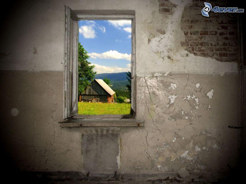 stuga, gammalt fönster, gammal mur