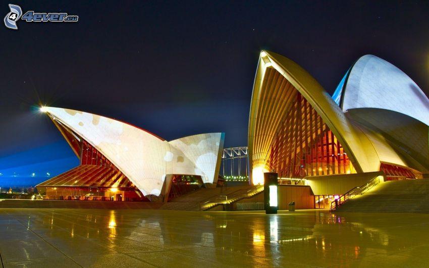 Sydney Opera House, kväll, belysning