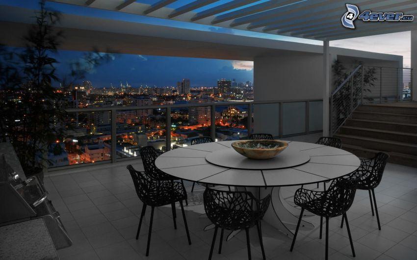 terrass, bord, stadsutsikt, kväll