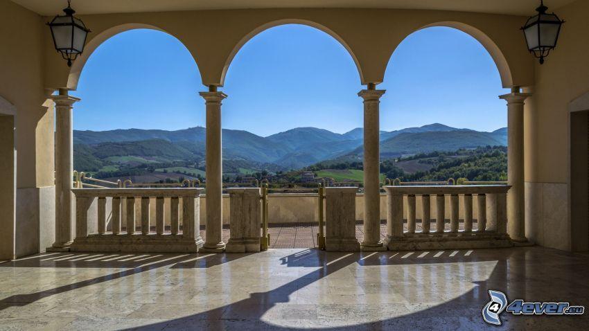 terrass, utsikt över landskap, kullar