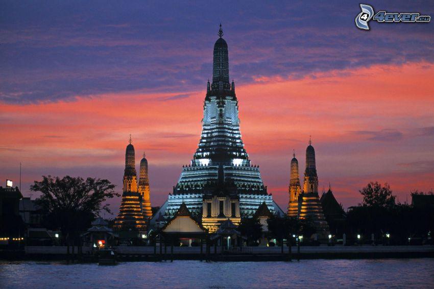 Thailand, tempel, kväll