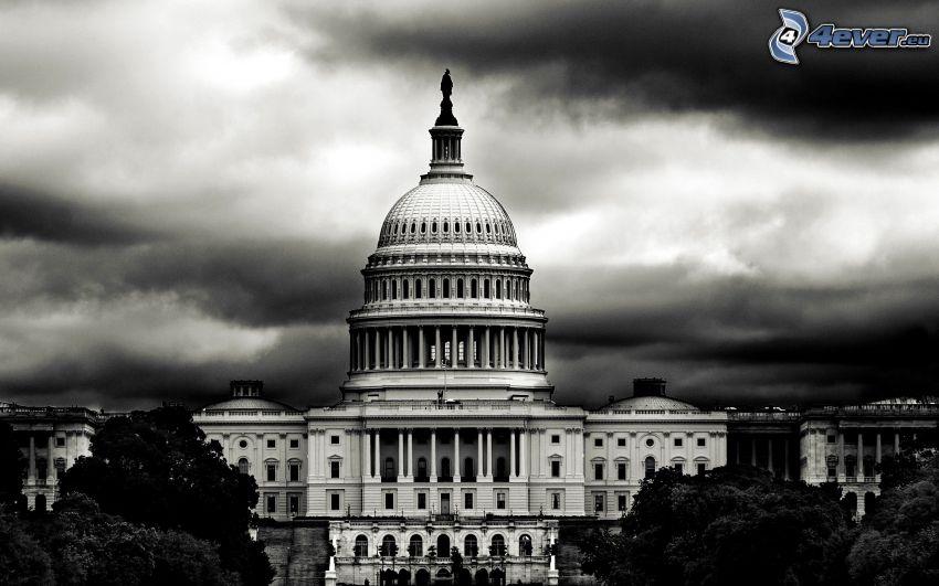 The Capitol, Washington DC, svart och vitt