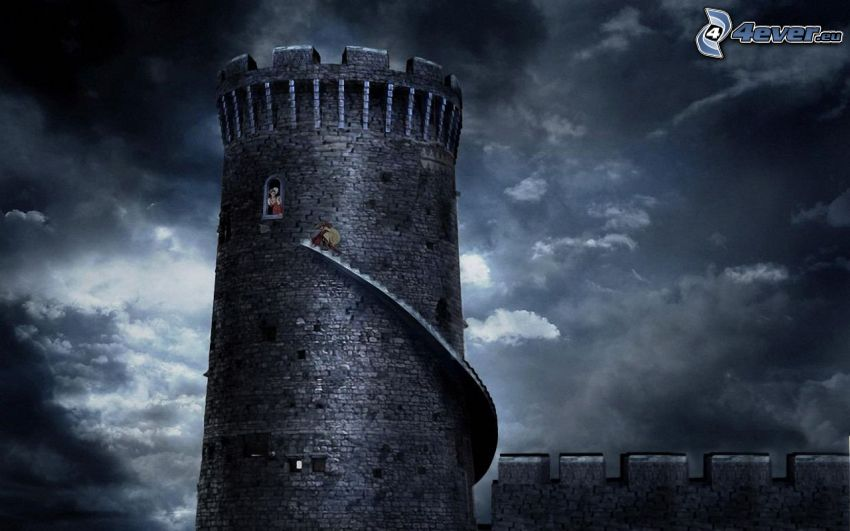torn, prinsessa, moln