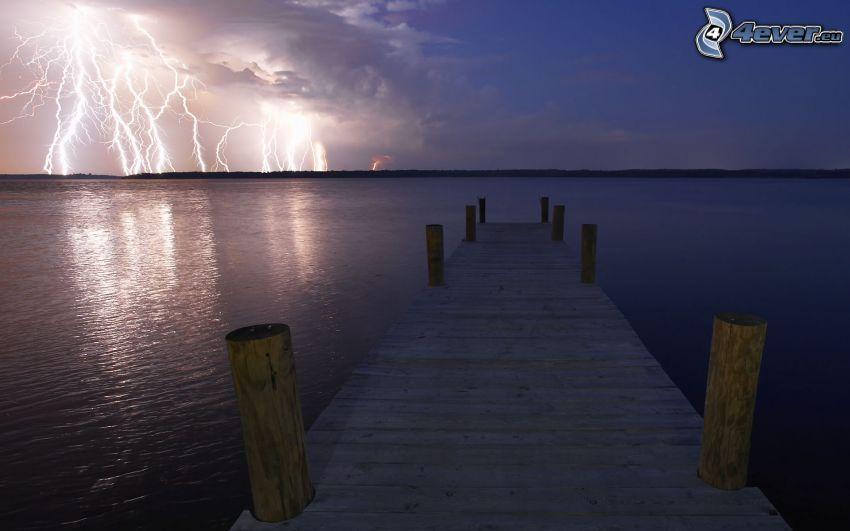 träbrygga, hav, blixt, storm