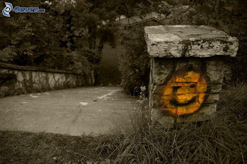 trappor, mur, smiley, träd