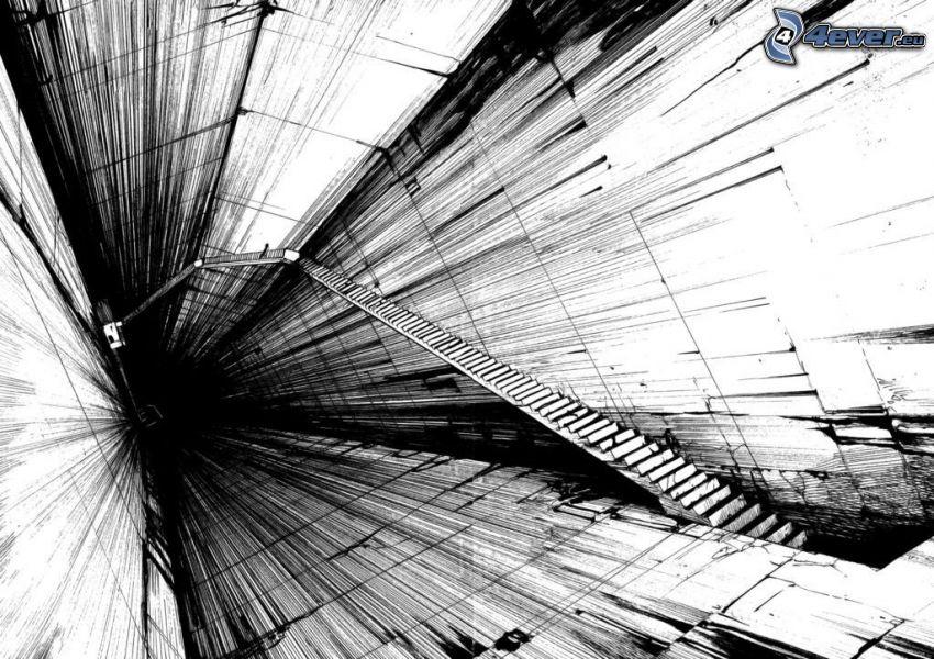 trappor, svart och vitt