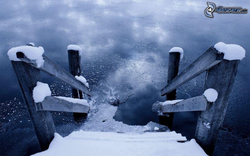 trappor, vatten, snö