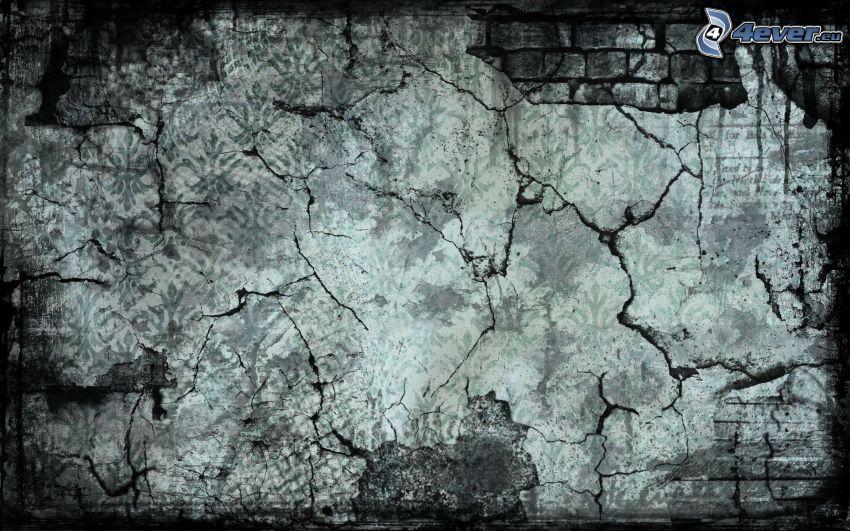 trasig vägg, sprickor