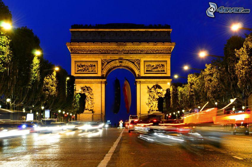 Triumfbågen, Paris, Frankrike, kväll, belysning, trafik