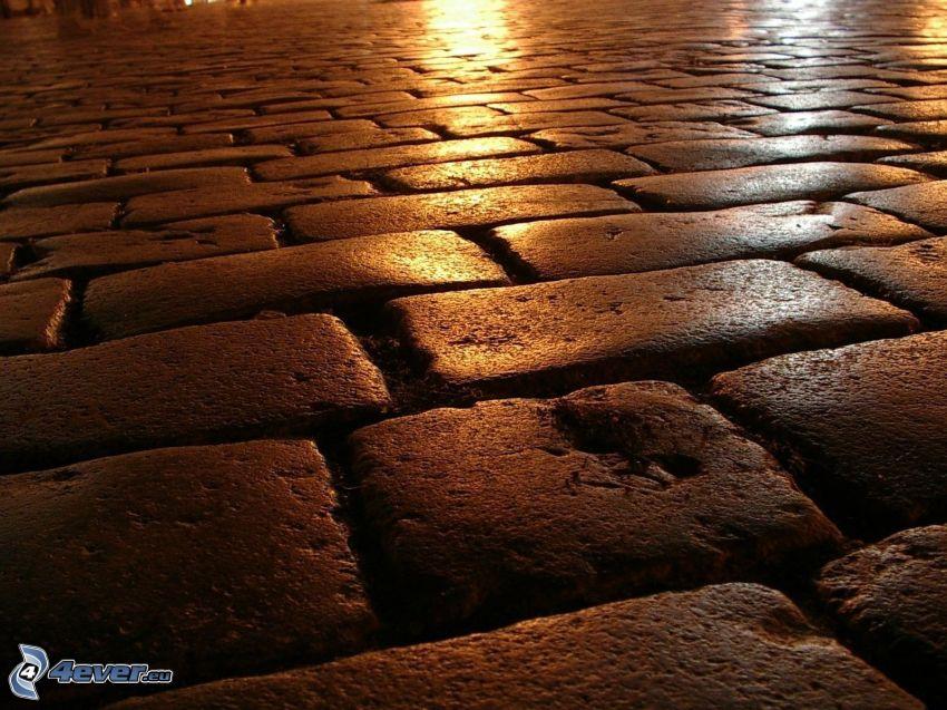 trottoar, beläggning, natt