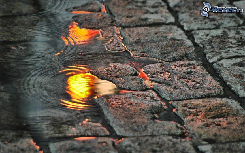 trottoar, vattenpöl
