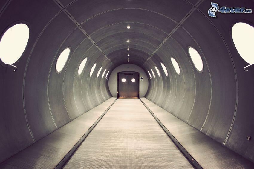 tunnel, korridor, dörr
