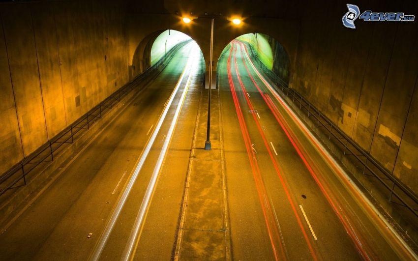 tunnel, ljus, nattresa