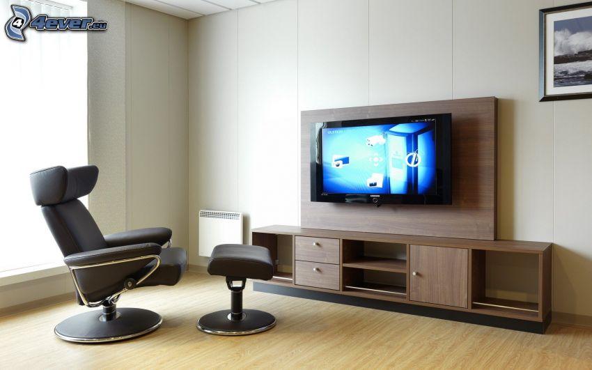 vardagsrum, fåtölj, TV