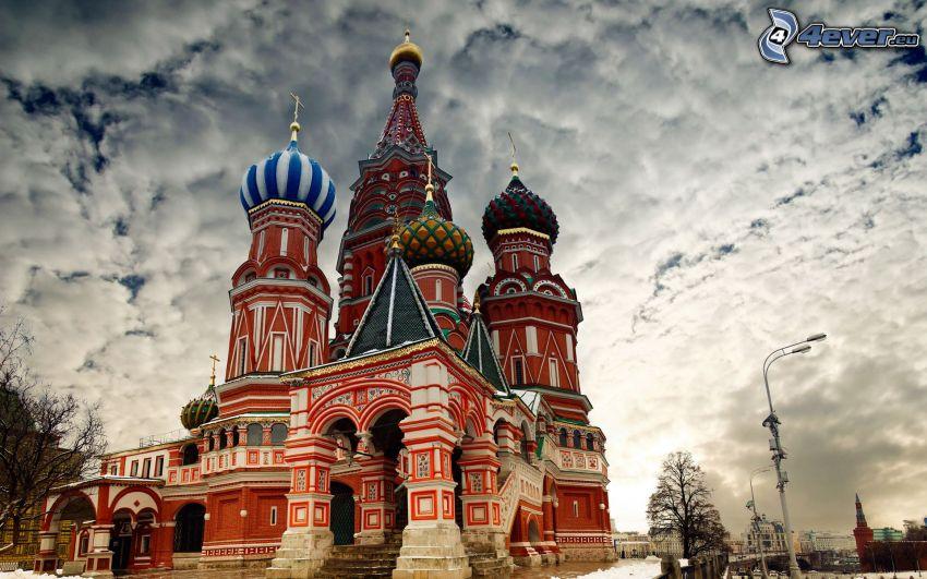 Vasilijkatedralen, Moskva, Ryssland, moln, HDR