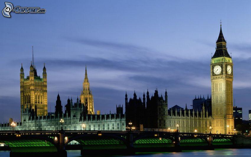 Westminsterpalatset, Brittiska parlamentet, Big Ben, bro, London, England, kväll, belysning