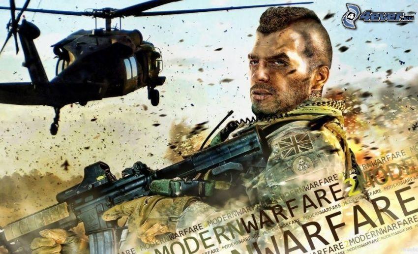 Call of Duty, man med vapen, helikopter